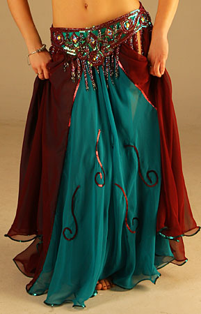 Skirt Circle Double Chiffon With Sequin Design Upper Layer Is Combination Of Burgundy And Teal Color Panels Bottom 38 Length